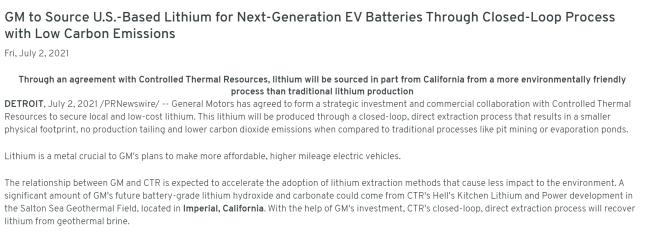 """""""锂资源+低碳"""" 通用汽车将开发从卤水中提取锂资源项目"""